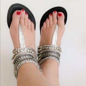 Shoes - Silver Rhinestone & chain sandals